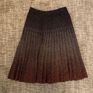Mulberry Metallic Pleated Skirt